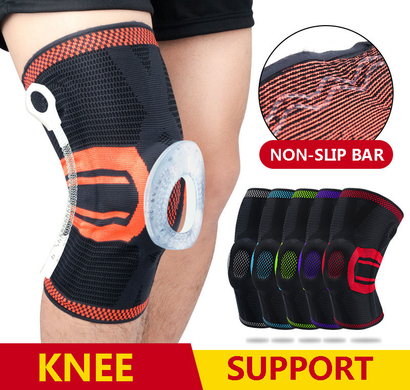 New Knee Brace Nylon Silicon Knee Sleeve Neoprene Knee Pads Knee Brace Sleeves Elastic Protector Basketball Springs Knee Support