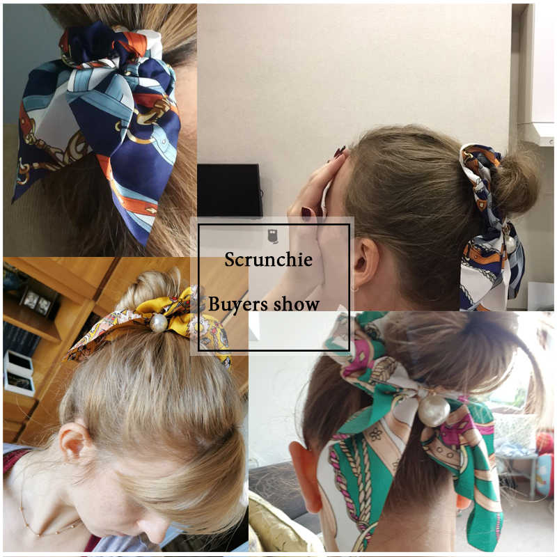 Voan Tóc Scrunchies Nữ Ngọc Trai Thời Trang Đuôi Ngựa Giá Đỡ Tóc Buộc Tóc Gấu Dây Cao Su Phụ Kiện Tóc Nơ Mũ Đợi Đầu Đa Năng