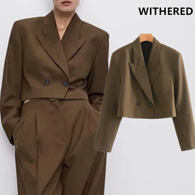 Withered Blazer Feminino England Style Vintage Double Breasted Short Blazer Women Blazer Mujer 2019 Women Blazers And Jackets