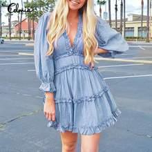 Celmia Women Summer Sundress 2021 Fashion Sexy V Neck Mini Dress Casual Solid Elegant Ruffles Puff Sleeve Party Dress Plus Size