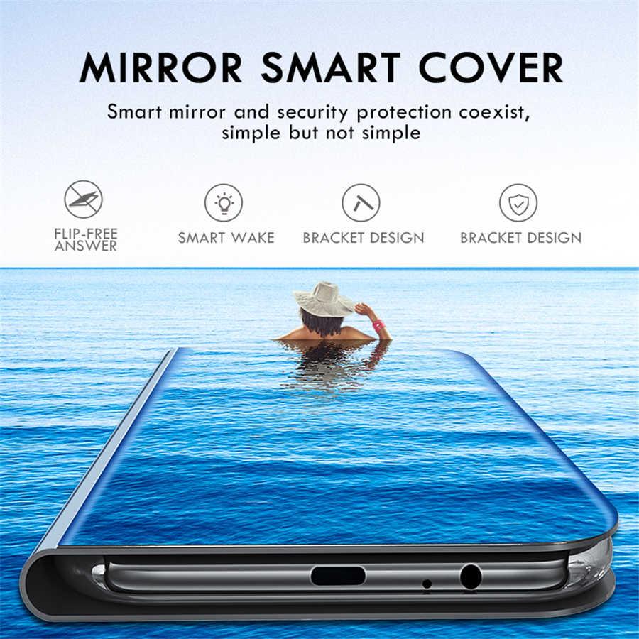 ミラー表面の革 360 保護 Huawei 社 Y6 首相 Y7 プロ Y9 2019 Y7 Y6 首相 Y5 Y9 2018 高級カバー Capa