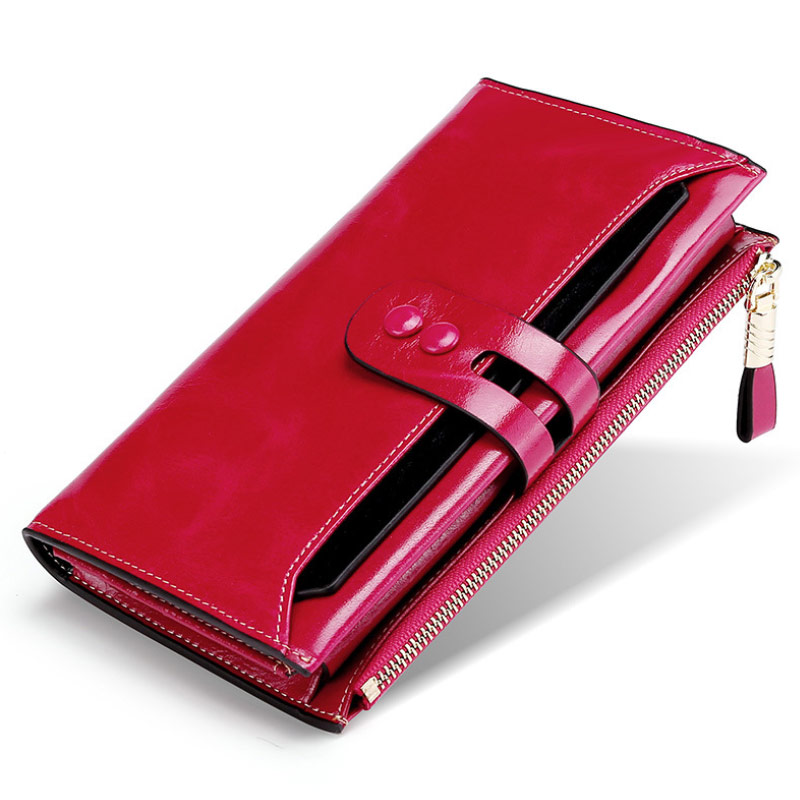 Fashion Red Black Genuine Leather Women Wallet Female Cell Phone Pocket Long Women Purses Hasp GlossyLady Coin Purse Card Holder