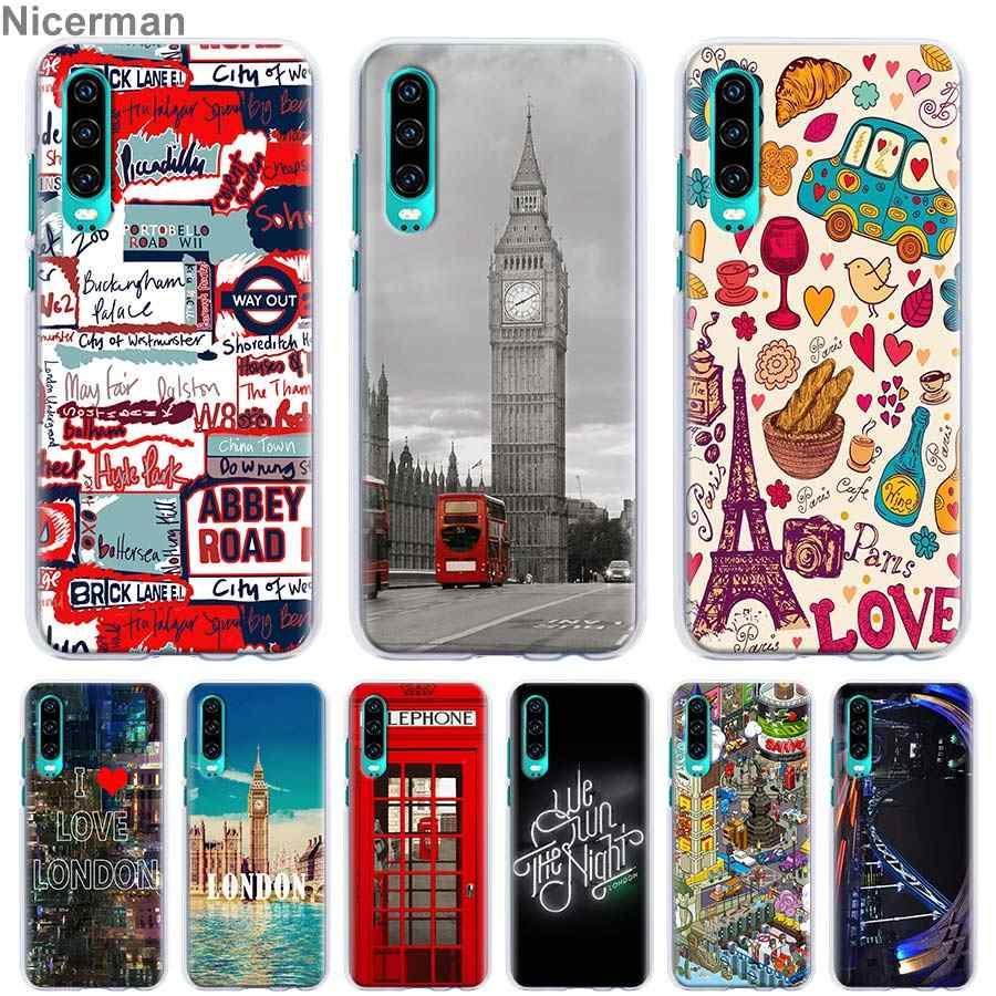 Style londres Big Ben téléphone Box drapeau téléphone etui téléphone huawei P30 Pro P10 P20 Lite P30 Lite P Smart Plus 2019 couverture PC dur Coq