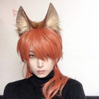MMGG New Brown Wolf Fox Ears Hair hoop Tail Headwear Beast Cosplay Costume Accessories for Girl Women Handmade Work