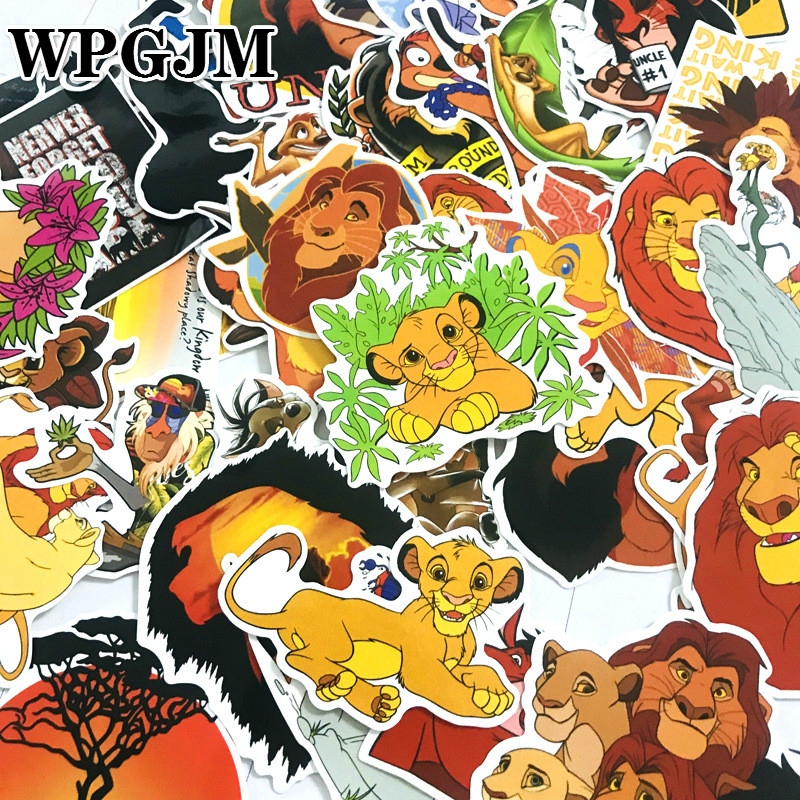 50Pcs PVC Waterproof Simba The Lion King World of Animals Cool Stickers for Laptop Car Styling Phone Bicycles Luggage Motorcycle(China)