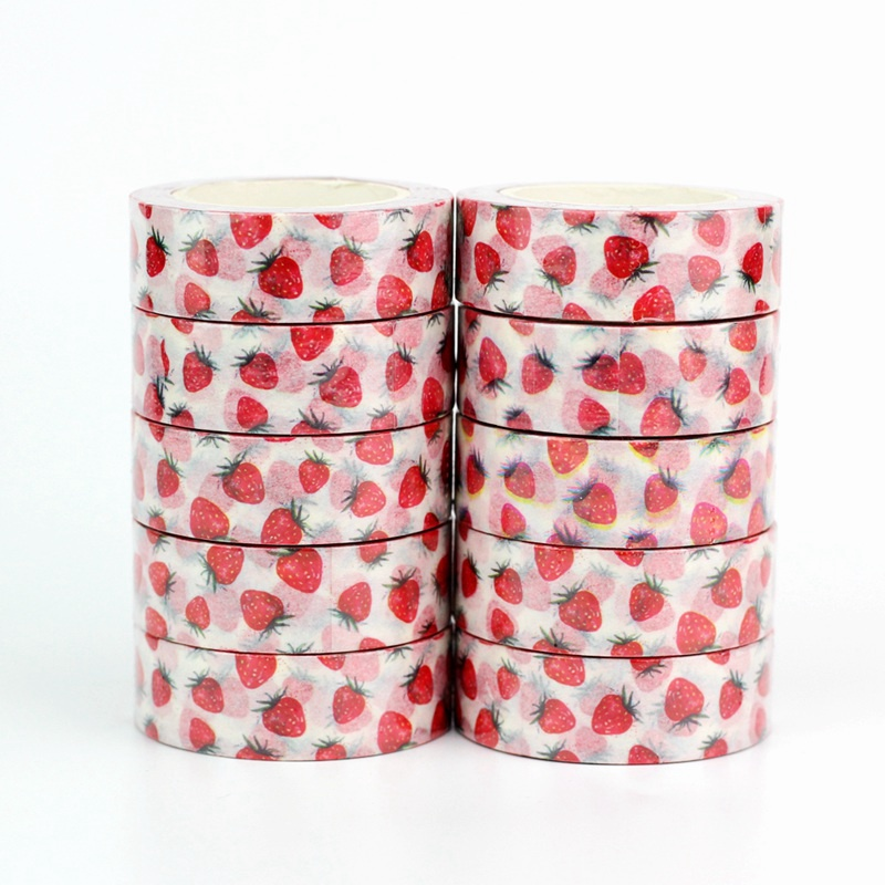10pcs/lot Decorative Cute Strawberry Fruit Washi Tapes Paper DIY Scrapbooking Sticker Japanese Masking Tape Wholesale Stationery