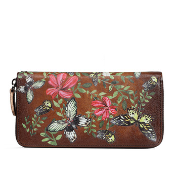 Butterfly Floral Printed Leather Wallet