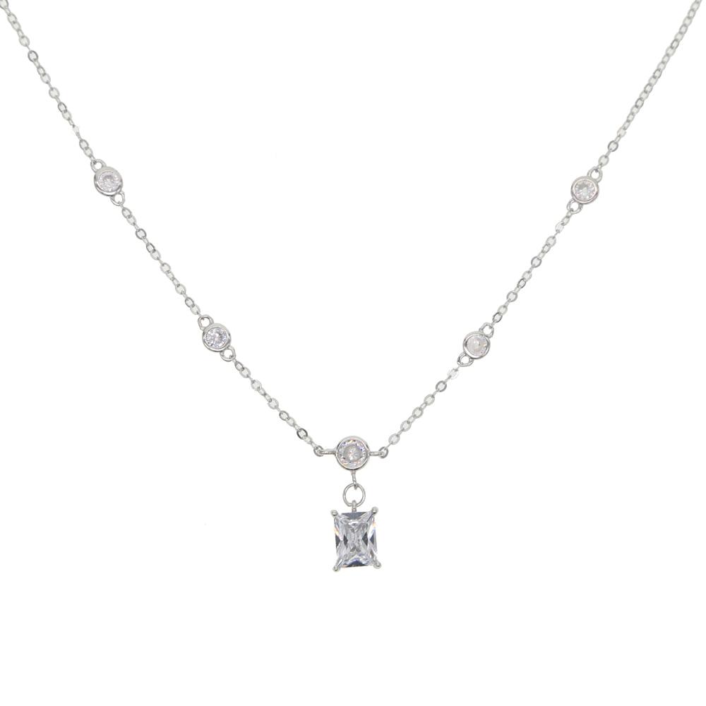 2019 Trendy fashion round cz minimalist 925 sterling silver dainty cz single baguette stone charm chain necklace women fine gift