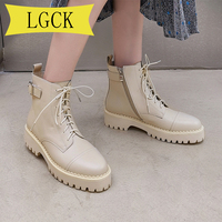 Big Size 34 40 Genuine Leather Platform Boot New Autumn Women Light Comfortable Chunky Boots Fashion Lace Up Lady Shoes Footwear