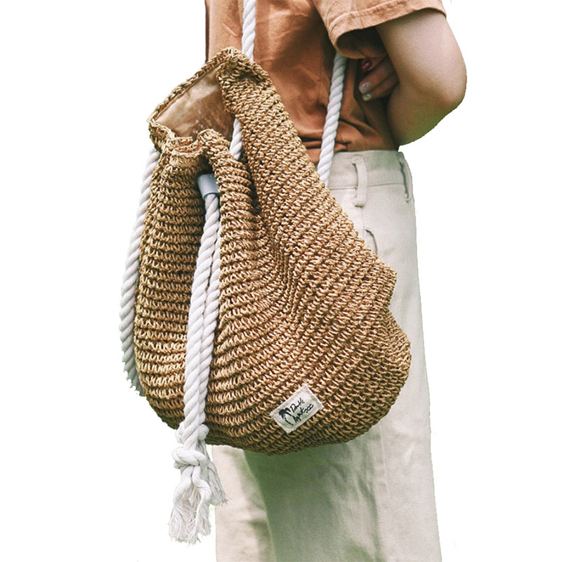 Women Straw Backpack Straw Bag Fashion Rucksack Weaved For Girls Mochila Backpack Travel Beach Bags Women Shoulder Bag