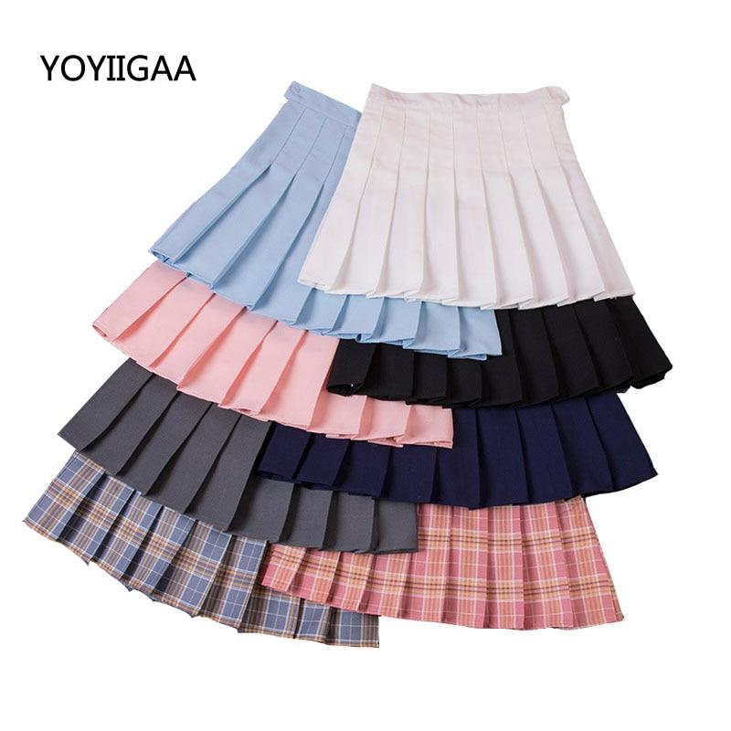 Solid Pleated Skirt Summer Women High Waist Pleated Mini Skirts Fashion Slim Waist Casual Girls Ladies Skirts School Vacation