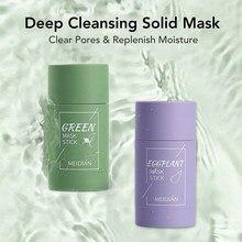 Tè verde maschera detergente solida maschera purificante in Stick di argilla cura del viso controllo dell'olio Anti-Acne eggana cura della pelle bellezza sbiancamento 40g