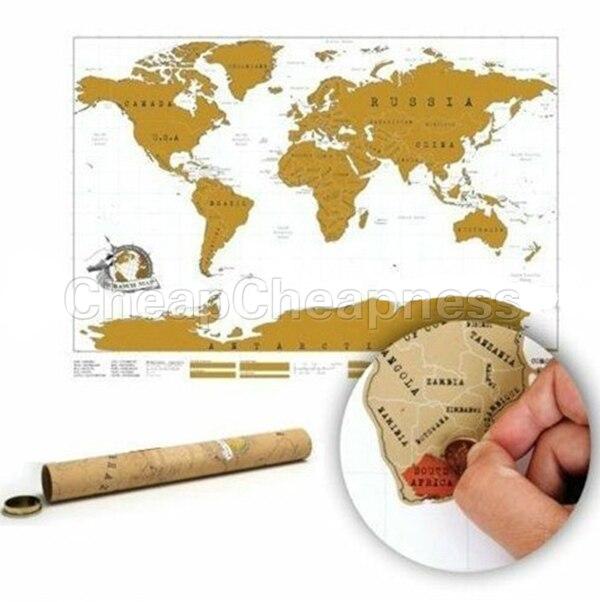 82 * 58cm Brand New Scratch Map World Travel Scratch Map Best Education Gift School Map