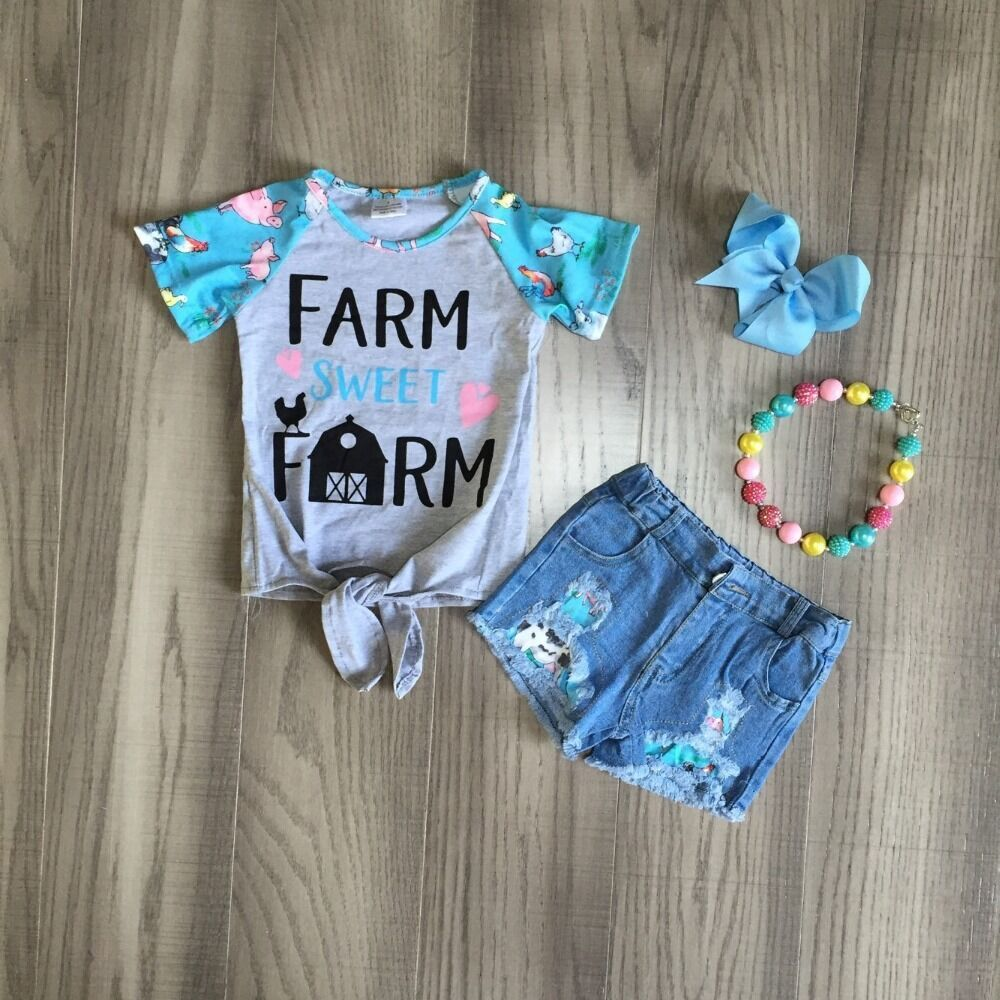 Baby Girls Summer Jeans Outfits Girl Farm Shirts Girls Boutique Denim Outfits With Accessories