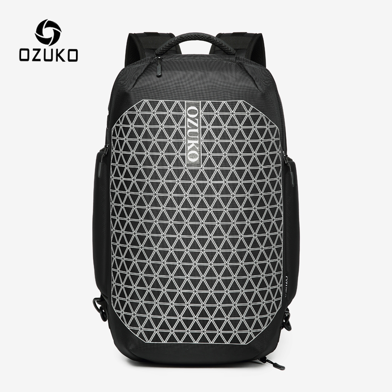 OZUKO Anti Theft Reflective USB Charge Backpack Men Waterproof Large Capacity Travel Backpack Male 15.6 inch Laptop Backpacks