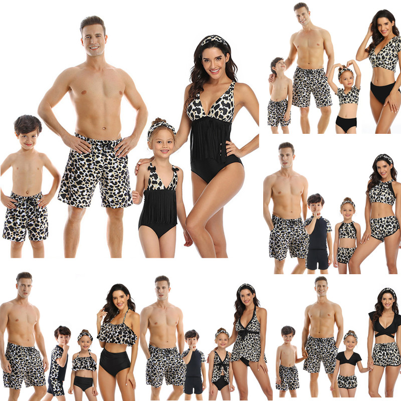 Family Matching Swimsuits Mother Daughter Bikini Mom Me Dad Son Girls Boys Swimwear Women Men Shorts Couples Beach Outfits