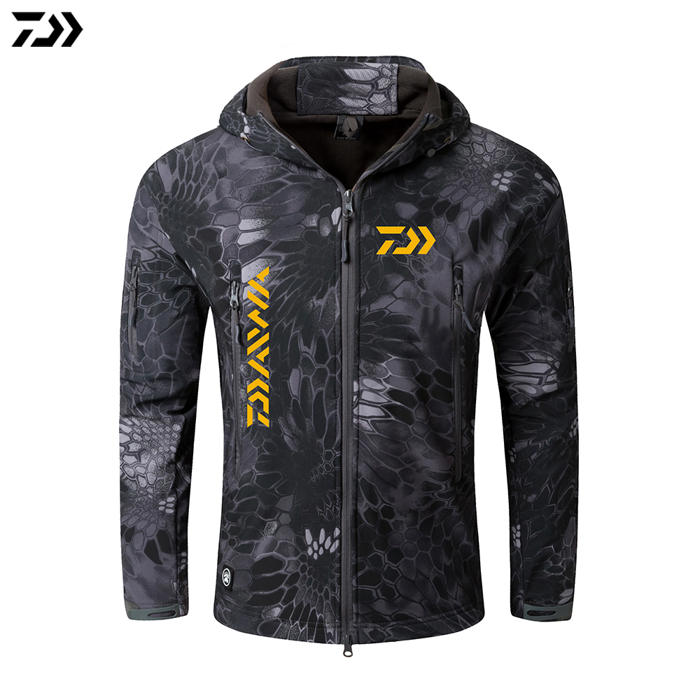 Daiwa Jacket Crepe Fishing Clothing Men Waterproof Warm Fishing Clothes Camouflage Hooded Fishing Jacket Winter Daiwa Clothing