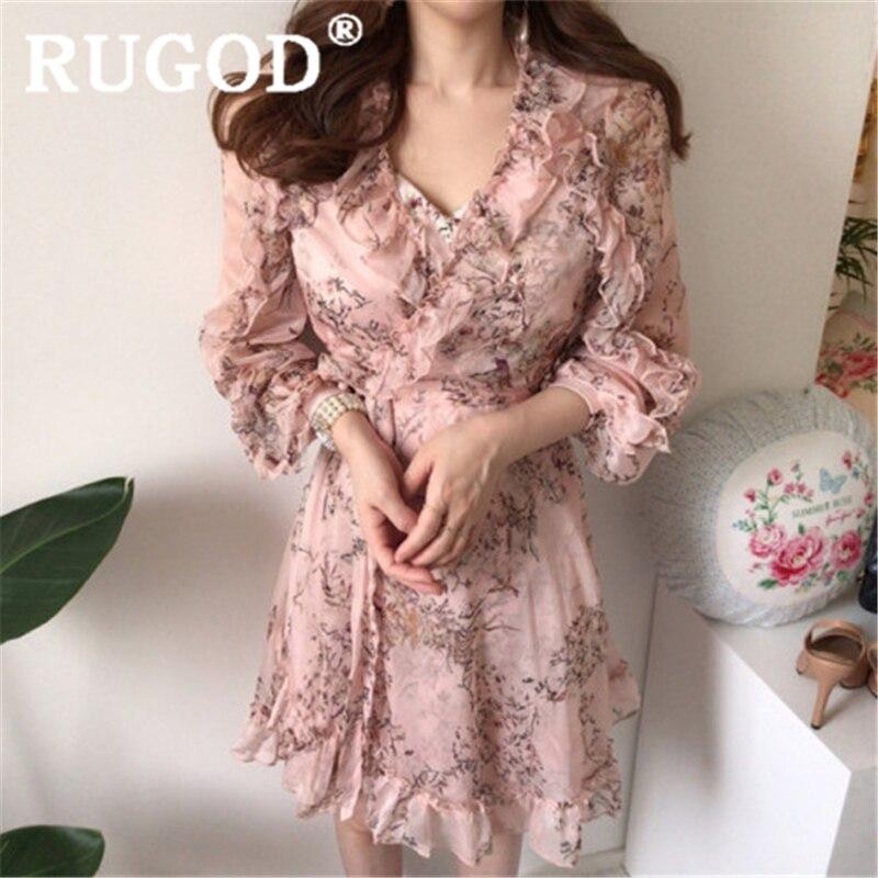 RUGOD Women Pink Floral Pattern Dress V Neck Stringy Selvedge Ruffles Lace Up Mini Dress With Sling New Fashion Female Elegant