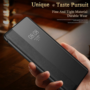 Image 3 - Luxury Smart View Window P40pro Flip Case For Huawei P40 P30 P20 Mate 30 20X 5G 10 Pro Lite P10 Plus Genuine Leather Phone Cover