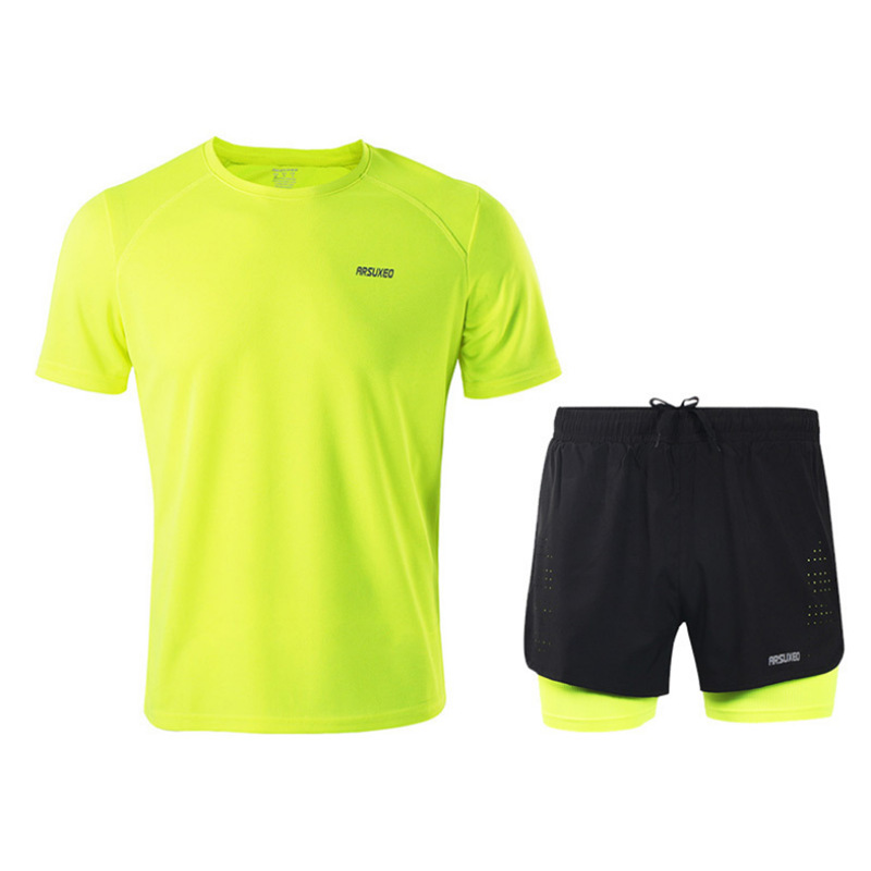 Arsuxeo Summer Athletic T-shirt Men And Women Casual Running Riding Clothes Set Thin Wicking Breathable Short Sleeve Pants