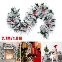 Simulation Xmas Rattan Flocking Garland Christmas Family Party Tree Vine Ornaments Christmas Tree Ornaments Cristmas Decoration