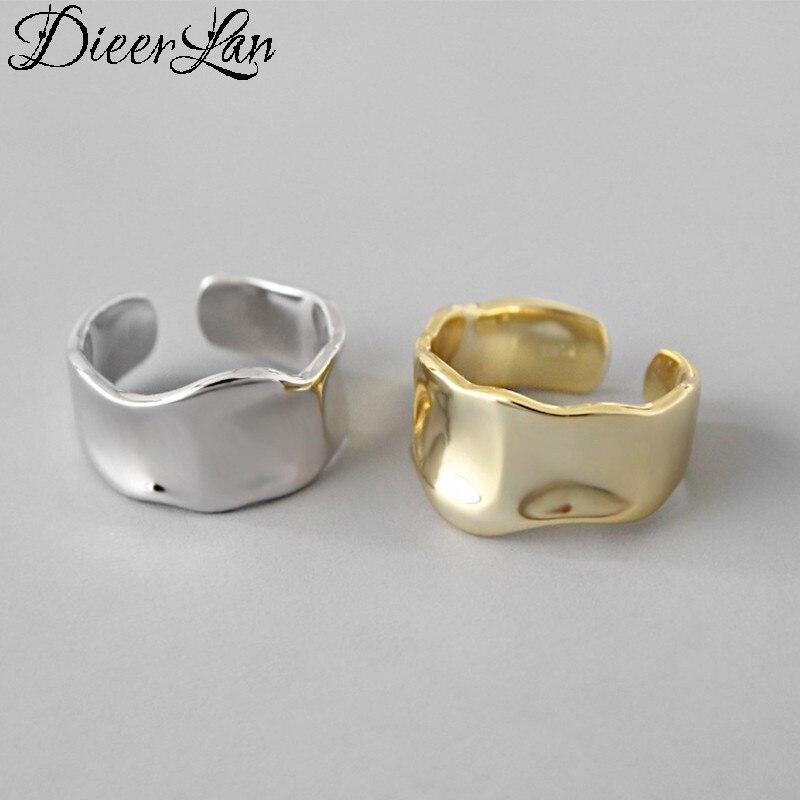 DIEERLAN Plata de Ley 925 auténtica Anillos irregulares para Mujer joyería Anillos de dedo Anillos Mujer Bijoux