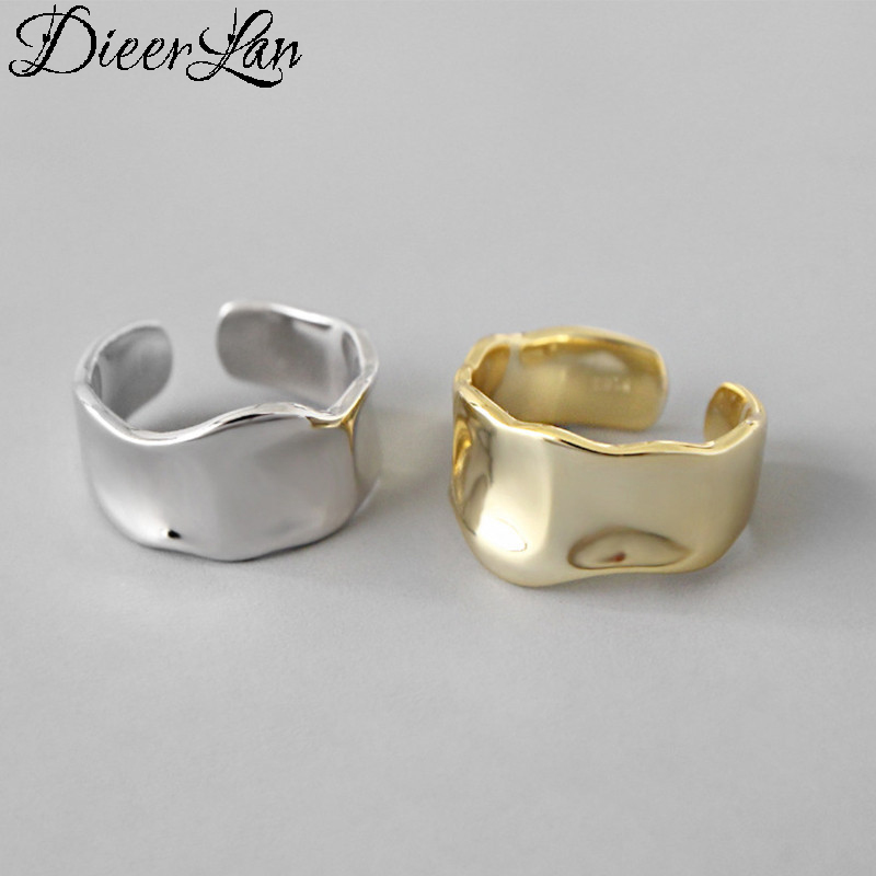 DIEERLAN  Real 925 Sterling Silver Irregular Rings For Women Statement Jewelry Finger Rings Anillos Mujer Bijoux