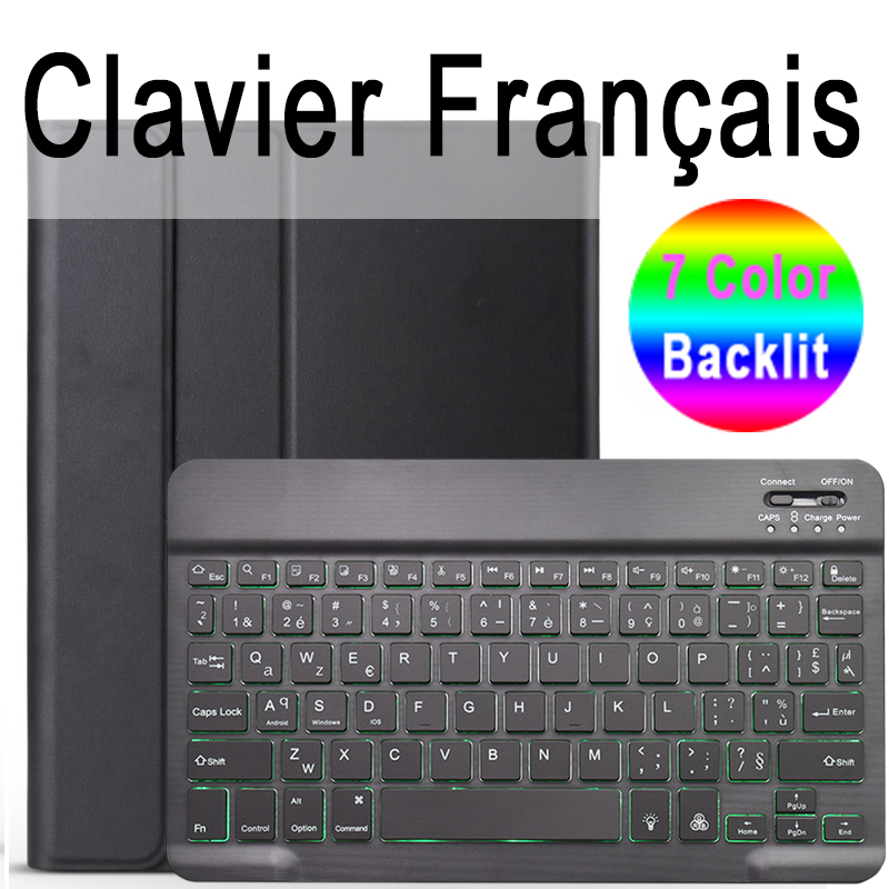 French Keyboard Rose 7 Colors Backlit 3 0 Bluetooth Keyboard Case for iPad 10 2 Keyboard Case for Apple