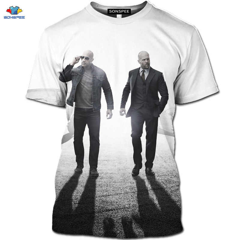 Sonspee Passie Movie Fast & Furious T-shirt Motorfiets Hobbs En Shaw Shirt Het Lot Van De Furious T-shirt 3D Gtr racing Top
