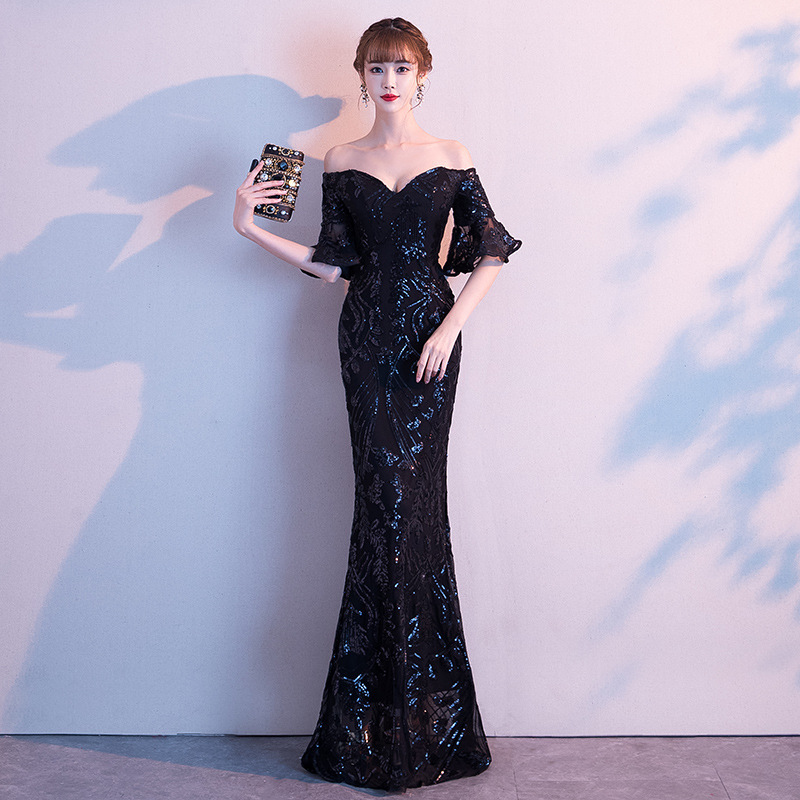 Evening Dress Female 2020 New Noble Temperament Long Style Banquet One Word Shoulder Gas Field Fish Tail Host