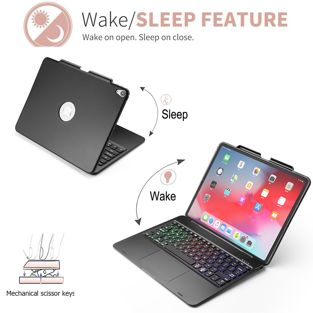 Купить с кэшбэком For iPad Pro 12.9 Inch 2018 Bluetooth Keyboard with 7 Colors Backlit Wireless Keyboard with Touchpad Tablet Protective Case