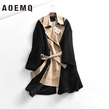 AOEMQ Fashion Jackets Patchwork Solid Color Creative Office Lady Long Jackets Lace Up Adjustable Wasit Jackets Women Clothing(China)