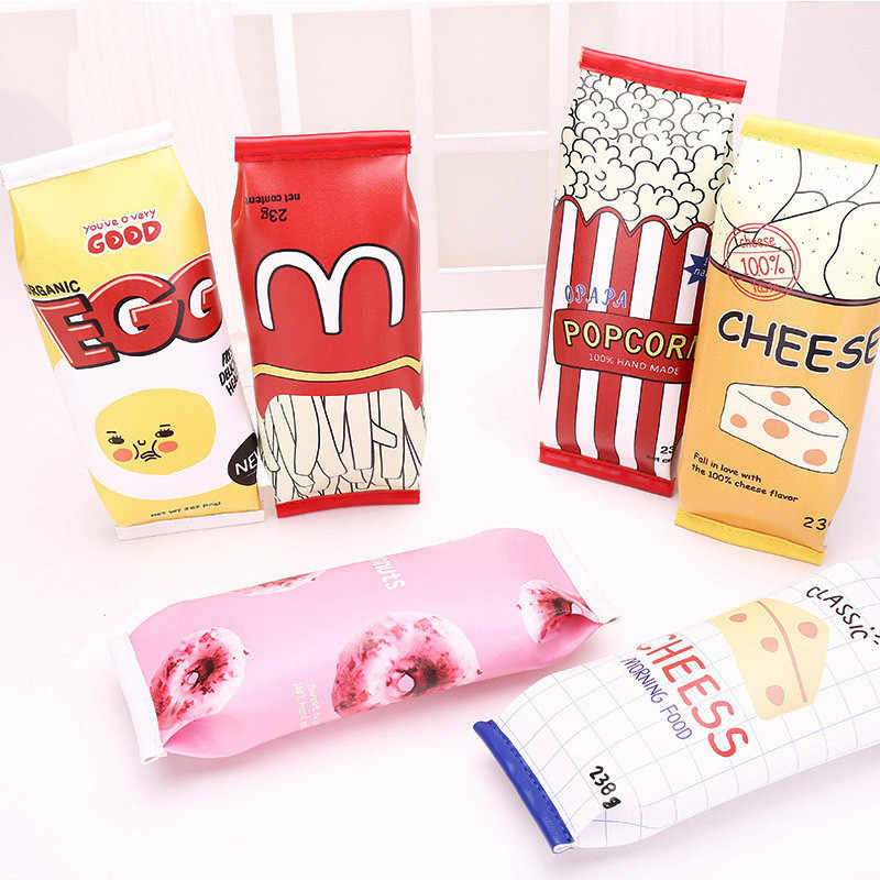 6 Styles Novelty Snacks Food Packaging Popcorn Fries Cheese PU leather Pencil Case School Supplies Stationery Pen Bag Case