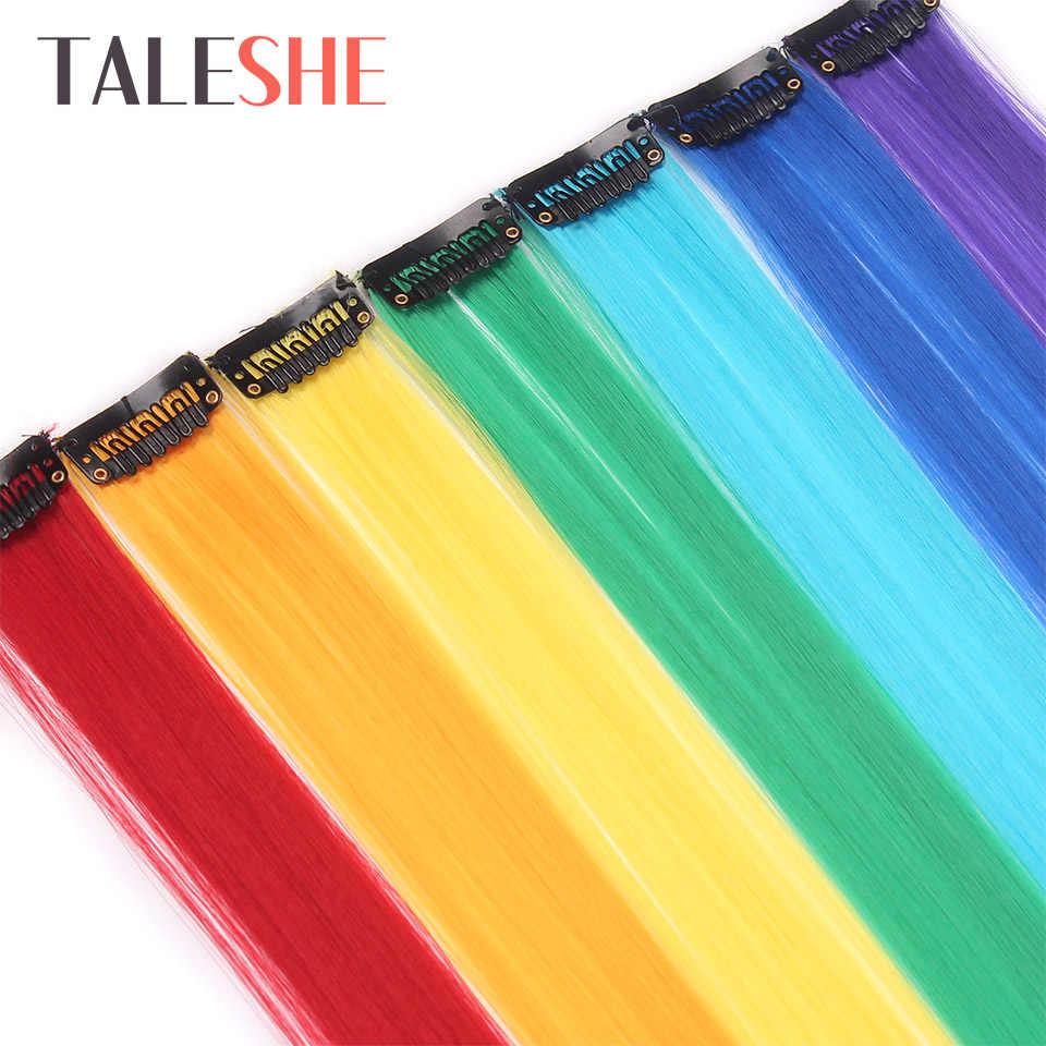 Taleshe Lange Rechte Clip In Een Stuk Hair Extensions 20 Inch 50 Cm Synthetisch Nep Haar Voor Vrouwen Meisjes Regenboog kleur Roze