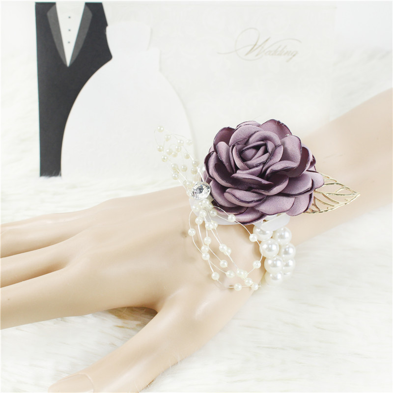 Meldel Boutonniere And Wrist Corsage Wedding Bridesmaid Bracelet Men Brooch Pins Silk Rose Girl Corsage Wedding Guests Accessory