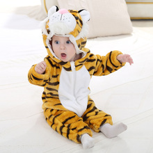 цена на tiger animal pajamas newborn baby flannel clothes hooded jumpsuit baby animal winter warm thick one-piece pajamas christmas boy