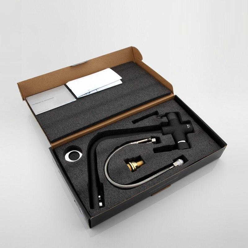 Nuovo Nero Lavello Della Cucina Rubinetto Miscelatore Sette Lettera di Disegno di 360 Gradi di Rotazione di Depurazione Delle Acque di Rubinetto Maniglia Doppia F4352 Serie - 5