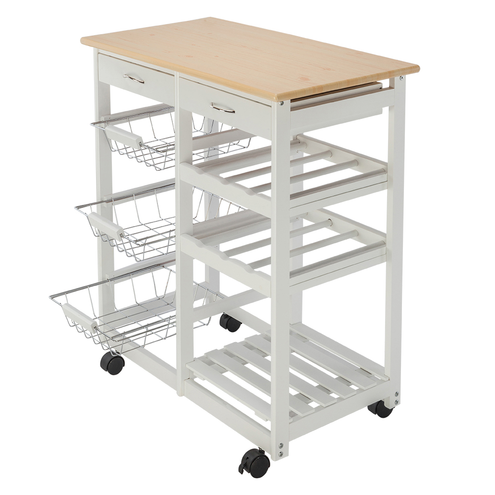 FCH Moveable Kitchen Cart with Two Drawers Two Wine Racks Three Baskets Kitchen Dining Car White