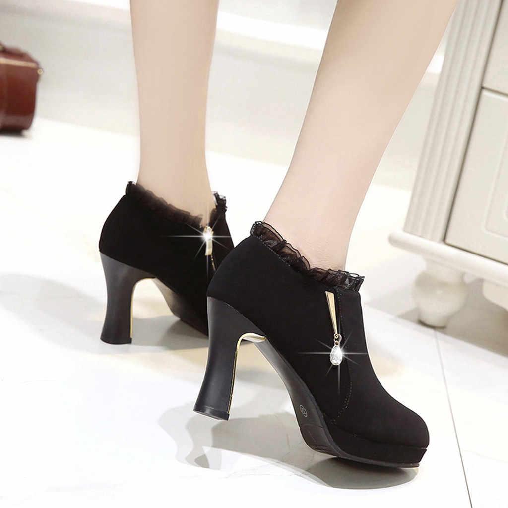 Elegant ผู้หญิงข้อเท้ารองเท้าบูทฤดูหนาว Lolita ลูกไม้สั้น Boot Lady Evening Party เซ็กซี่รองเท้าส้นสูงรองเท้าคริสตัล