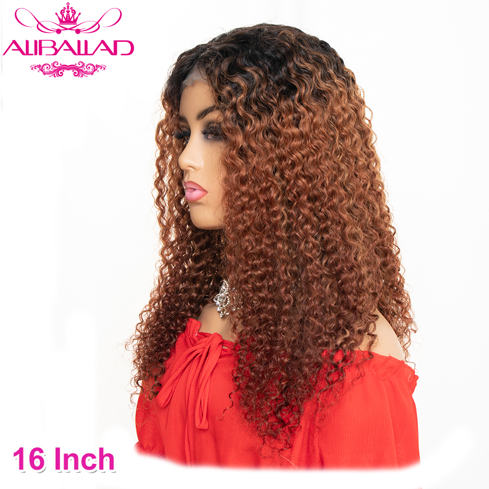 Ombre T1B/30 Kinky Curly Human Hair Wigs 4x4 Lace Closure Wigs For Women Remy Brown Malaysian Wig 150% Density Aliballad