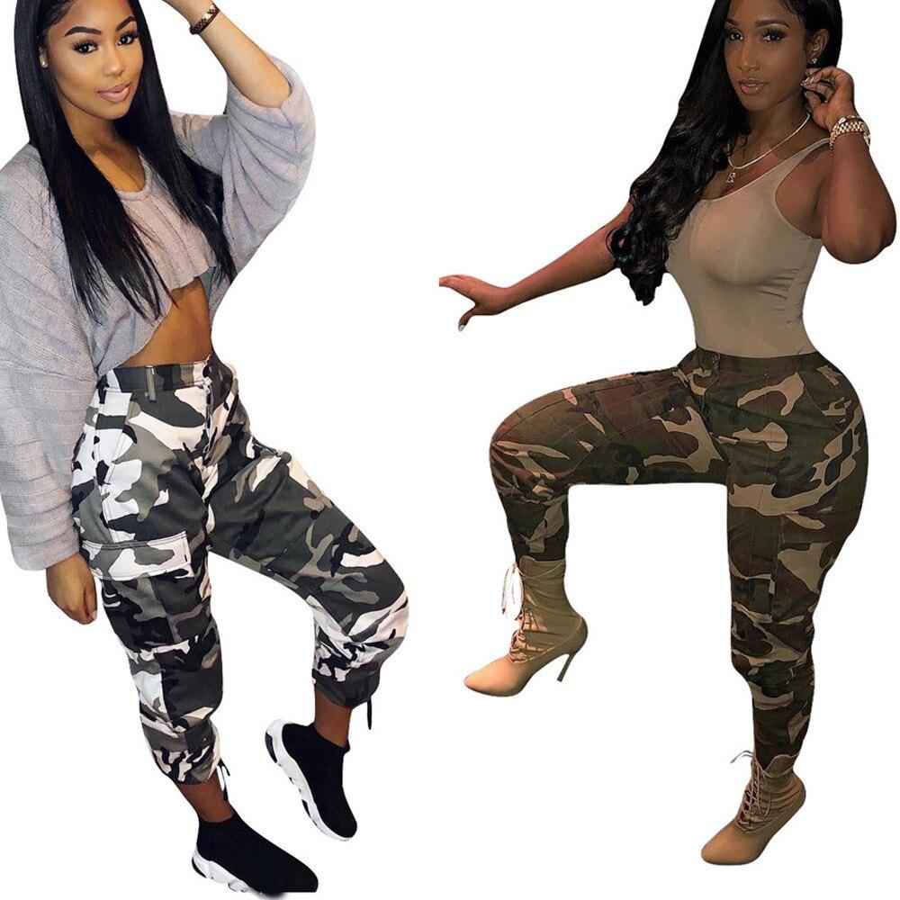 New Womens Camo Cargo High Waist Hip Hop Trousers Camouflage Pants Joggers Trousers Hip Hop Rock Trousers Long Pants Hot Capris