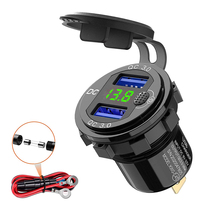 QC 3.0 Dual USB Charger 12 24V 36W Aluminum Waterproof Switch Voltmeter Wire Fuse for Car,Marine,Boat,Motorcycle,Truck