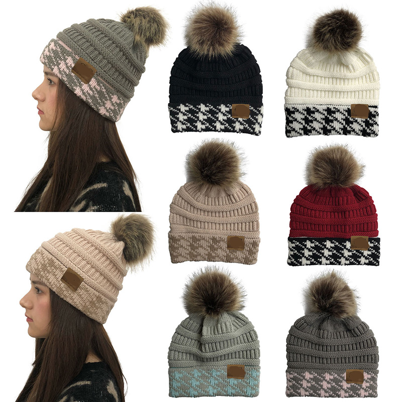 Women Winter Beanie CC Hat With Faux Fur Pom Pom Cap Female Knitted Hat For Girls Cap Soft Warm Ski Hat Ladies Skullies Bonnet