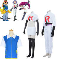 Pokemon Ash Ketchum Hemd Team Rakete Jessie James Kostüm Cosplay Halloween Kostüme Prop Vollen Satz