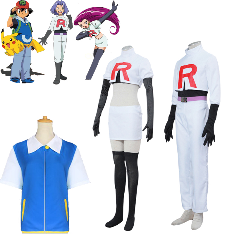 Pokemon Ash Ketchum Shirt Team Rocket Jessie James Costume Cosplay Halloween Costumes Prop Full Set