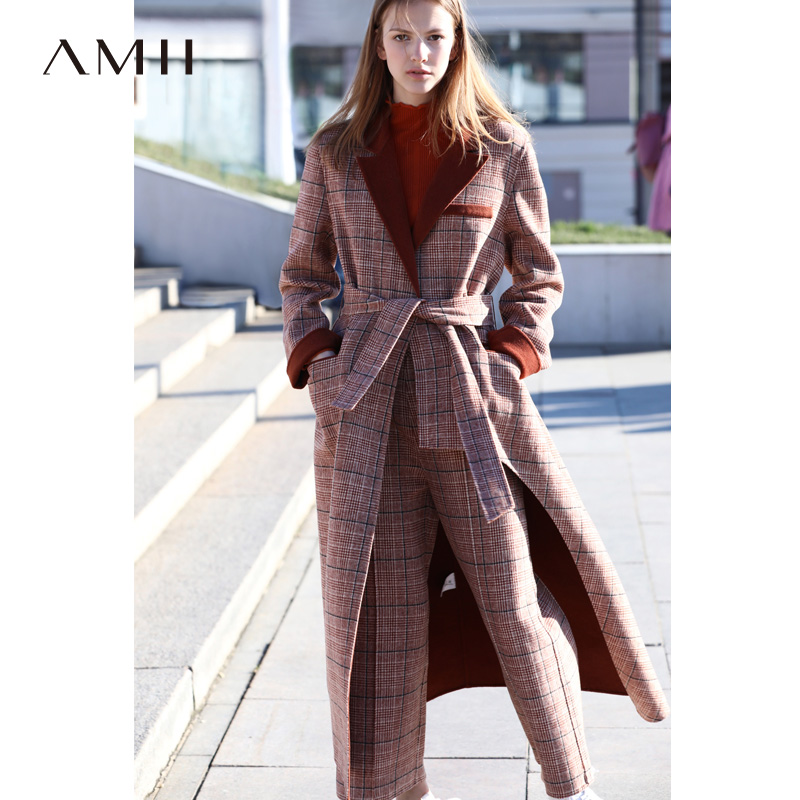 Amii Winter Women Plaid Woolen Two Piece Set Elegant Loose Double-sided Coat And Long Pants  11880095