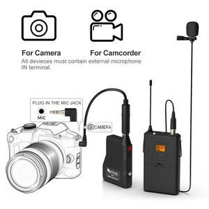 Image 3 - Fifine 20 チャンネルuhfワイヤレスラベリアラペルマイクシステムボディパックトランスミッターラペルマイク受信機とカメラ/電話