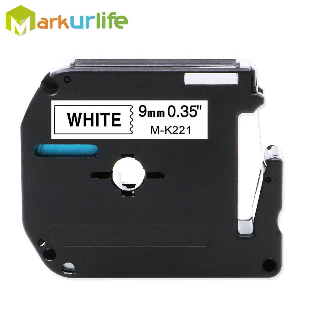 1PC 9mm*8m M-K221 M-K121 M-K621 M-K421 Label Tapes Compatible For Brother P-touch Label Printer Ribbon M-K221 MK-221 Mk221 MK221
