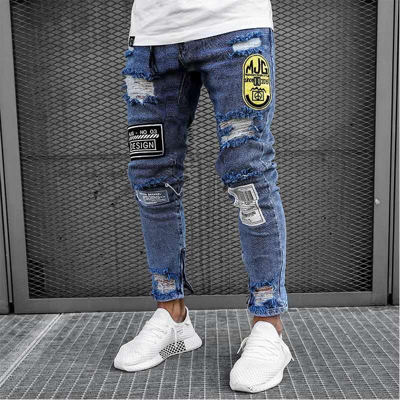 Новинка, обтягивающие джинсы для мужчин, уличная одежда, рваные джинсы, Homme, хип-хоп, Broken modis, мужские узкие байкерские штаны с вышивкой - Цвет: 1918