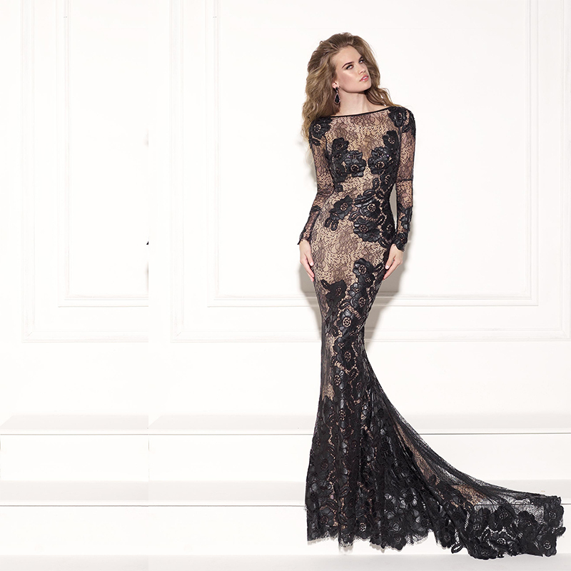 Long Evening Formal Women Elegant Vestido Robe De Soiree 2018 Scoop Neck Long Sleeve Black Lace Mother Of The Bride Dresses